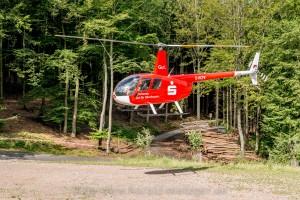 Hubschrauberflug über dem Spessart